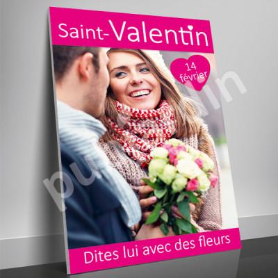 A17- Affiche Saint Valentin couple rose