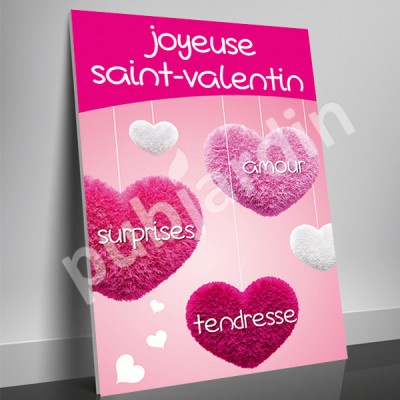 A21- Affiche Saint Valentin coeurs suspendus