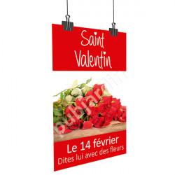 A18- Affiche Saint Valentin bouquet de roses