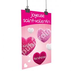 Affiche Saint Valentin coeurs suspendus