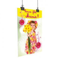 A24- Affiche bonne Fête Mamie jonquilles