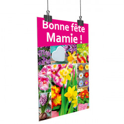 Affiche Bonne Fête Mamie - Fleurs