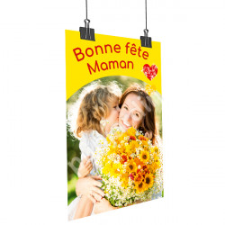 A37- Affiche Bonne Fête Maman - Bouquet jaune