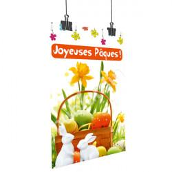Affiche Joyeuses Pâques - Lapins