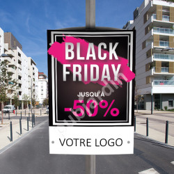 CP11- Cache poteau Black Friday noir